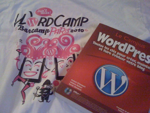 Tee-Shirt Wordcamp et livre WordPress