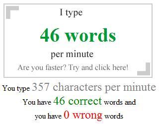 je tape 46 mots par minute