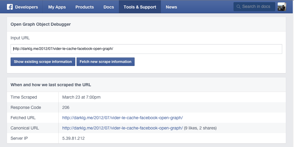 Vider le cache Facebook Open-Graph